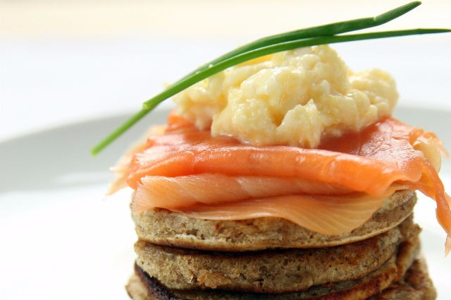 An image of Healthy Smoked Salmon And Scrambled Eggs On Wholemeal Drop Scones Recipe