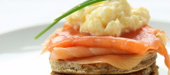 Healthy Smoked Salmon And Scrambled Eggs On Wholemeal Drop Scones Recipe