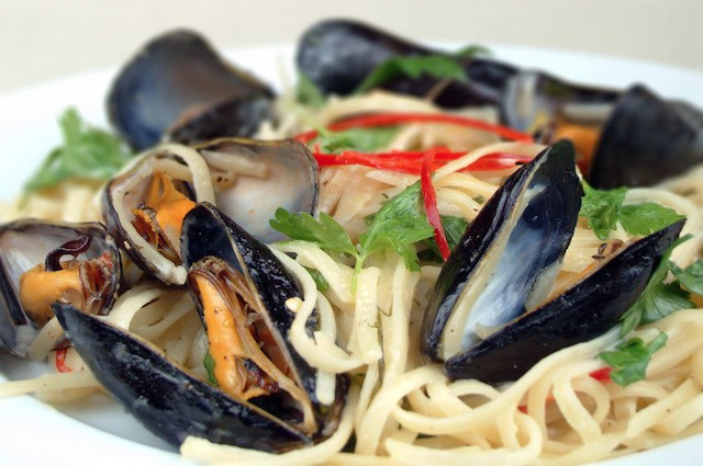 An image of Iron-Rich Linguini With Mussels, Chilli, White Wine And Crème Fraîche Recipe