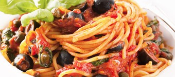 Iron-Rich Linguine With Tomato, Anchovy And Olive Sauce Recipe