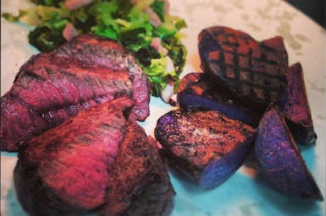An image of Healthy Venison, Smoked Bacon Cabbage And Grilled Potatoes Recipe