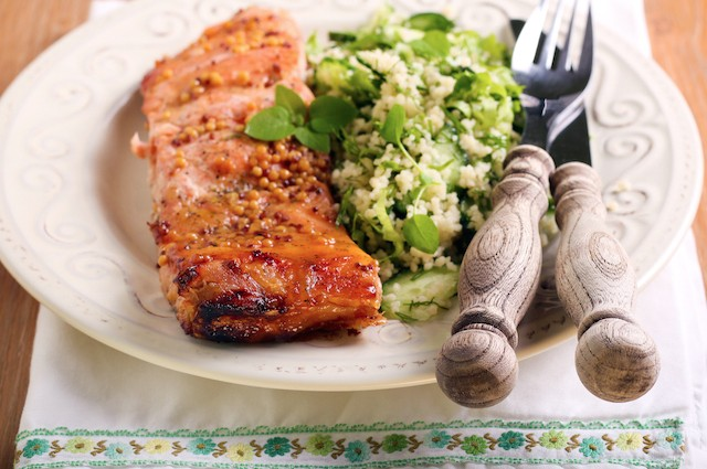 An image of Healthy Fillet Of Salmon With Green Couscous Recipe