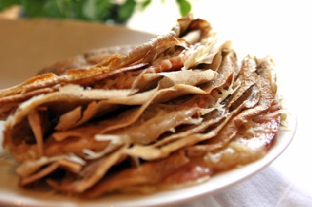 An image of Breton Buckwheat Pancakes With Ham And Cheese Recipe