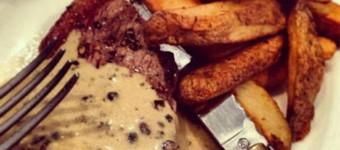 Low Fat Steak Au Poivre and Chips Recipe