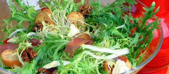 Nutritious Frisee Salad With Oven-Roasted Walnuts, Parma Ham And Buffalo Mozzarella Recipe
