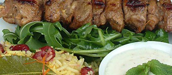 Low Fat Lamb Kebabs On A Bed Of Saffron Rice With Dried Cranberries Recipe
