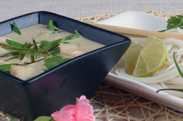 An image of Fuelling Thai Green Fish Curry With Rice Noodles Recipe