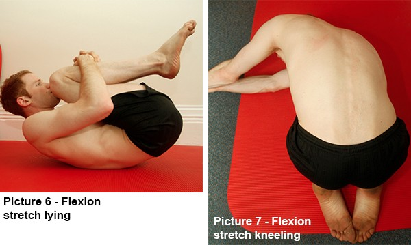 Flexion stretch lying and kneeling