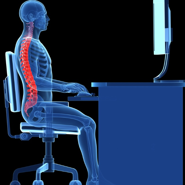 Correct position sitting at a desk