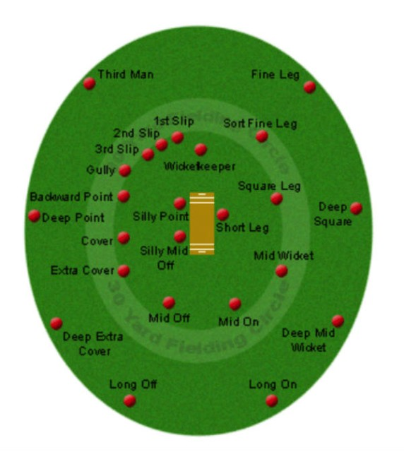 Cricket field and positions diagram