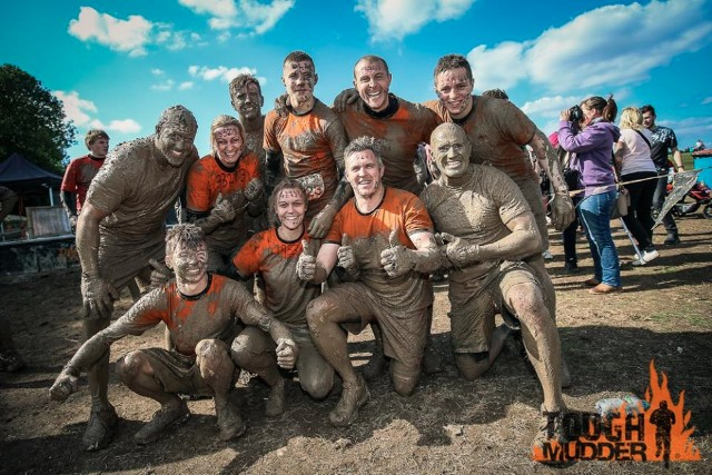 Mudders celebrate completing the course.
