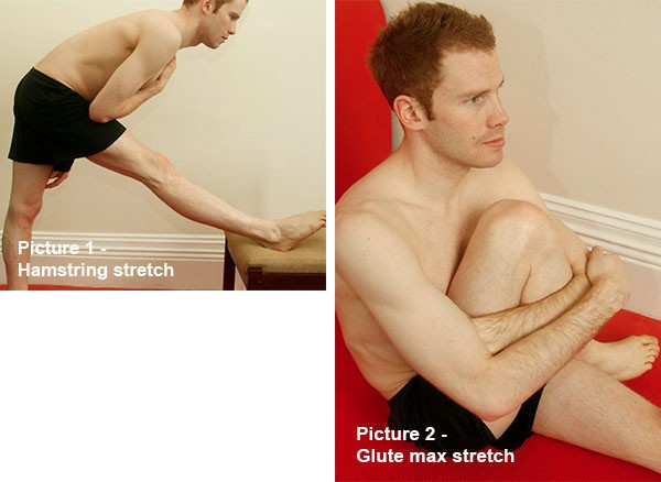 Hamstring stretch and Glute max stretch