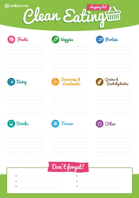 Clean eating blank shopping list