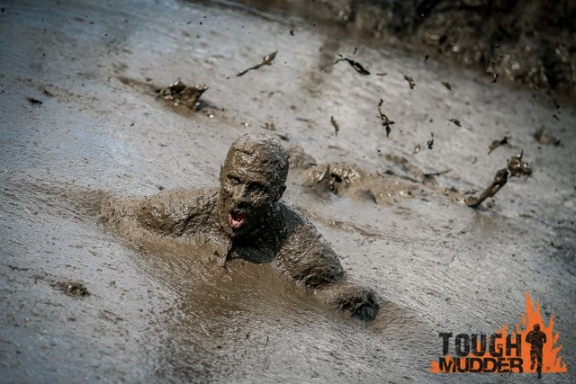 Submerged in mud.