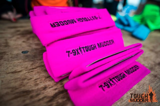 The different coloured Tough Mudder headbands.