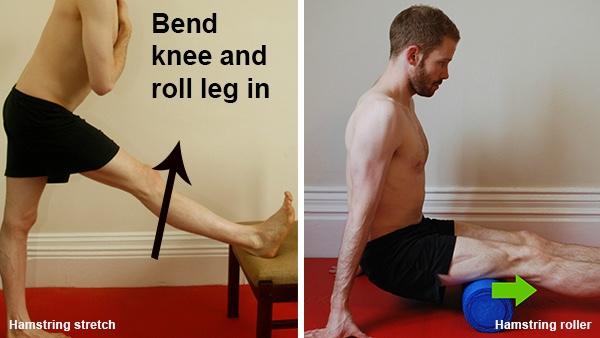 Hamstring stretch and hamstring roller